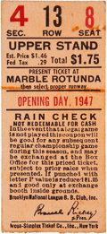 Baseball Collectibles:Tickets, 1947 Jackie Robinson's First Major League Game Ticket Stub....