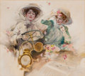 Mainstream Illustration, RICHARD PANNETT (English, 20th Century). A Sunday Drive.Watercolor on board. 17 x 19 in.. Signed lower right. ...