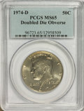 Kennedy Half Dollars: , 1974-D 50C Doubled Die Obverse MS65 PCGS. PCGS Population (69/8).(#96723)...