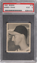 Baseball Cards:Singles (1940-1949), 1948 Bowman Warren Spahn #18 PSA Mint 9....