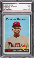 "Baseball Cards:Singles (1950-1959), 1958 Topps Pancho Herrera, Missing ""a"" #433 PSA NM 7...."
