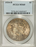 Peace Dollars: , 1934-D $1 MS60 PCGS. PCGS Population (56/3779). NGC Census:(36/2838). Mintage: 1,569,500. Numismedia Wsl. Price for NGC/PC...