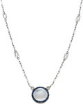 Estate Jewelry:Necklaces, Art Deco Moonstone, Sapphire, Diamond, Platinum-Topped GoldNecklace. ...