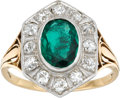 Estate Jewelry:Rings, Emerald, Diamond, Platinum-Topped Gold Ring, C.D. Peacock. ...