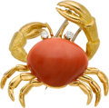 Estate Jewelry:Brooches - Pins, Coral, Diamond, Gold Clip-Brooch. ...