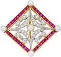 Estate Jewelry:Brooches - Pins, Art Deco Diamond, Ruby, Cultured Pearl, Platinum, Gold Brooch. ...