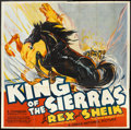 "Movie Posters:Western, King of the Sierras (Grand National, 1938). Six Sheet (81"" X 81""). Western.. ..."