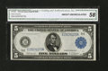 Fr. 862 $5 1914 Federal Reserve Note CGA About Uncirculated 58