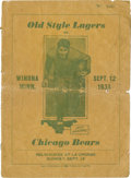 Football Collectibles:Programs, 1934 Old Style Lagers vs. Chicago Bears Game Program. ...