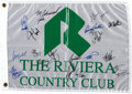 Golf Collectibles:Autographs, Circa 1995 The Riviera Country Club Multi-Signed Pin Flag with Tiger Woods....