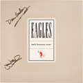 Music Memorabilia:Autographs and Signed Items, Don Henley and Joe Walsh Signed Eagles LP Flat....