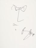 Music Memorabilia:Autographs and Signed Items, U2 - Bono Signed Self Portrait Sketch....