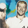 Baseball Collectibles:Others, Circa 2008 Mickey Mantle Screenprint on Canvas by StevenKaufman....