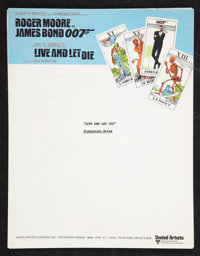 """Live and Let Die (United Artists, 1973). Production Notes (Multiple Pages, 8.5"""" X 11""""). James Bond"""