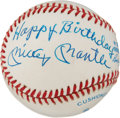 "Autographs:Baseballs, 1980's Mickey Mantle ""Happy Birthday"" Single Signed Baseball...."