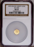 California Fractional Gold: , 1870 25C Liberty Round 25 Cents, BG-808, R.3, MS64 NGC. NGC Census:(5/10). PCGS Population (54/53). (#10669)...