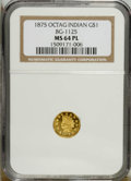 California Fractional Gold: , 1875 $1 Indian Octagonal 1 Dollar, BG-1125, Low R.5, MS64 ProoflikeNGC....