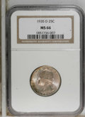 Washington Quarters: , 1935-D 25C MS66 NGC. NGC Census: (68/6). PCGS Population (146/12).Mintage: 5,780,000. Numismedia Wsl. Price for NGC/PCGS c...