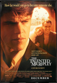 """The Talented Mr. Ripley (Paramount, 1999). Bus Shelter (48"""" X 70"""") DS Advance. Crime"""
