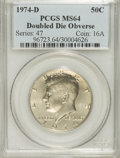 Kennedy Half Dollars: , 1974-D 50C Doubled Die Obverse MS64 PCGS. PCGS Population (244/77).(#96723)...