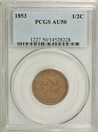 1853 1/2 C AU50 PCGS. PCGS Population (28/503). NGC Census: (7/658). Mintage: 129,694. Numismedia Wsl. Price for NGC/PCG...