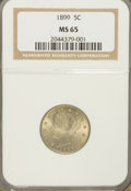 Liberty Nickels: , 1899 5C MS65 NGC. NGC Census: (127/42). PCGS Population (145/51).Mintage: 26,029,032. Numismedia Wsl. Price for problem fr...