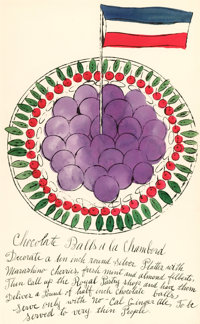 ANDY WARHOL (American, 1928-1987) Wild Raspberries, 1959 Offset lithograph and watercolor on paper