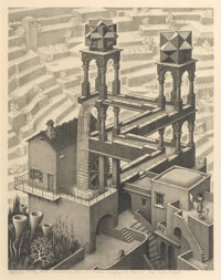 M. C. ESCHER (Dutch, 1898-1972) Waterfall, 1961 Lithograph on paper 15 x 11-3/4 inches (38.1 x 29
