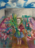 Impressionism & Modernism:post-Impressionism, PHILIP EVERGOOD (American, 1901-1973). Untitled (Girl withFlowers). Oil on canvas. 30 x 21-3/4 inches (76.2 x 55.2 cm)...