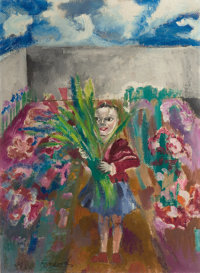 PHILIP EVERGOOD (American, 1901-1973) Untitled (Girl with Flowers) Oil on canvas 30 x 21-3/4 inch