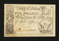Colonial Notes:South Carolina, South Carolina April 10, 1778 5s Choice New....