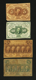 Fractional Currency:First Issue, First Issue Straight Edge Type Set. Good or Better.... (Total: 4 notes)