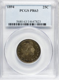Proof Barber Quarters: , 1894 25C PR63 PCGS. PCGS Population (58/151). NGC Census: (26/210). Mintage: 972. Numismedia Wsl. Price for NGC/PCGS coin i...