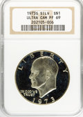 Proof Eisenhower Dollars, 1973-S $1 Silver PR69 Ultra Cameo NGC. NGC Census: (7/0). Mintage:1,013,646. Numismedia Wsl. Price ...