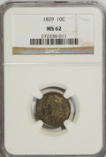 Bust Dimes: , 1829 10C Small 10C MS62 NGC. NGC Census: (37/101). PCGS Population(21/87). Mintage: 770,000. Numismedia Wsl. Price for NGC...