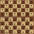 Prints:Contemporary, ARMAN (French/American, 1928-2005). Chessboard in Homage toMarcel Duchamp's L.H.O.O.Q., 1973. Skivertex leather with si...
