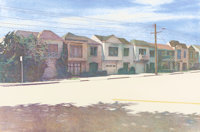 ROBERT BECHTLE (American, b. 1932) Sunset Street, 1982 Etching on paper 15-3/4 x 23-3/4 inches (4