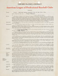 Autographs:Others, 1947 Joe DiMaggio Signed New York Yankees Contract....