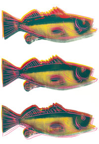 ANDY WARHOL (American, 1928-1987) Triple Fish Screenprint in colors on paper 24 x 42-1/4 inches (