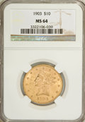 Liberty Eagles: , 1903 $10 MS64 NGC. NGC Census: (41/9). PCGS Population (48/1).Mintage: 125,800. Numismedia Wsl. Price for problem free NGC...