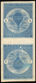 Stamps, 5¢ Deep Blue, Tête-Bêche Pair (CL1a),...
