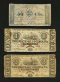 Obsoletes By State:Louisiana, Baton Rouge, LA- State of Louisiana $1; $2 Feb. 24, 1862 VG, once mounted. New Orleans, LA- C.C. Morgan & Co. 50¢ Fe... (Total: 3 notes)