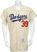 Baseball Collectibles:Uniforms, 1963 Los Angeles Dodgers Number 39 Game Worn Jersey....