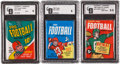 Football Collectibles:Others, 1960-1970 Topps High Graded Unopened Wax Pack Trio (3)....