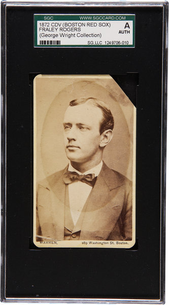 1872 Boston Red Stockings Cdv Fraley Rogers Sgc Authentic Lot