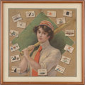 Baseball Collectibles:Others, 1904-12 Female Baseball Player Linen Pillow Case TobaccoPremium....