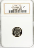 Proof Roosevelt Dimes: , 1958 10C PR67 Ultra Cameo NGC. NGC Census: (7/21). PCGS Population(17/20). Numismedia Wsl. Price for NGC/PCGS coin in PR6...