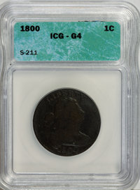 1800 1C G4 ICG. S-211. NGC Census: (2/53). PCGS Population (1/73). Mintage: 2,822,175. Numismedia Wsl. Price for NGC/PCG...