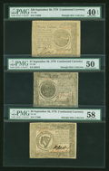 Colonial Notes:Continental Congress Issues, A Trio of Continental Currency September 26, 1778 Notes.... (Total:3 notes)