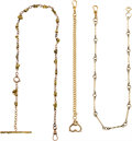 Timepieces:Watch Chains & Fobs, Gold Nugget Chain, 18K Chain & Gold Filled Watch Chain. ... (Total: 3 Items)